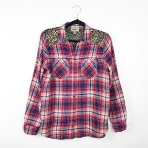 Express sequin plaid boyfriend flannel shirt
